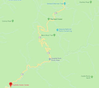 Generals Highway Map